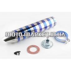 Глушитель (тюнинг)   420*100mm, креп. Ø78mm   (нержавейка, зебра, серебристо-синий, прямоток, mod:3)