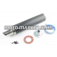Глушитель (тюнинг)   420*100mm, креп. Ø78mm   (нержавейка, карбон черный, прямоток, mod:1)