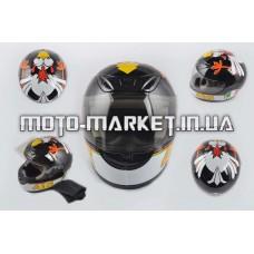 Шлем-интеграл   (mod:012) (size:XXL, черный, воротник, CRAZY CHICKEN)   YOUAI