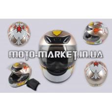 Шлем-интеграл   (mod:012) (size:XXL, бронза, воротник, CRAZY CHICKEN)   YOUAI