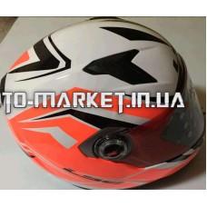 Шлем-интеграл   (mod:358) (size:XL, черно-бело-красный, RED SMOKE)   LS-2